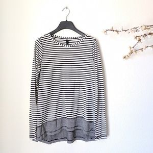 SEVEN7 Long Sleeve Striped Black White Top